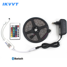 IKVVT SMD 2835 RGB LED Strip Light DC 12V Tape Diode Ribbon Lamp Neon Flexible Bluetooth Controller Power Supply