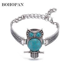 Personalized Bracelets Women Cute Animal Design Blue Stone Pendant Silver Color Metal Bracelets&Bangles Adjustable Chain Jewelry