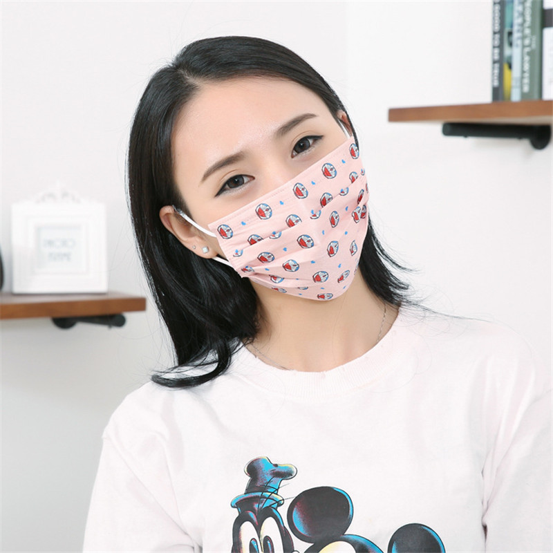 50pcs Pack Disposable mask sunscreen thin section printed non woven dust masks winter adult men and