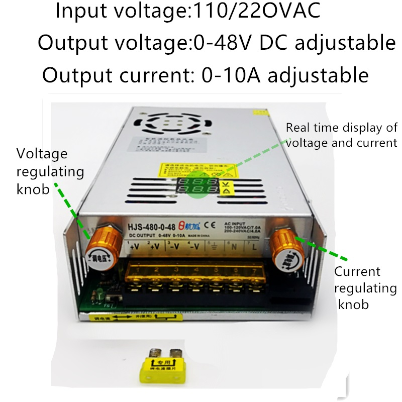 MARSWALLED AC110 220 to DC 0 48V 10A Current Voltage Adjustable Knob Switching Mode Power Supply