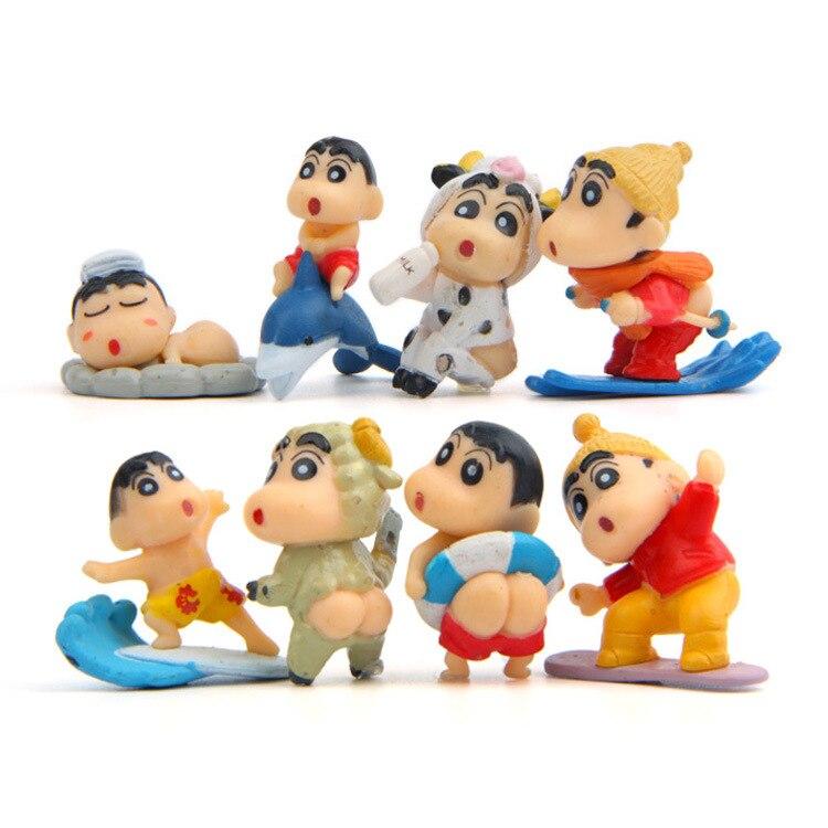 8 шт./компл. Crayon Shin-Chan DIY ПВХ игрушки Рисунок фигурку куклы аниме ПВХ модель микро-пейзаж Сад орнамент подарок Игрушечные лошадки