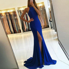 Bbonlinedress Mermaid Satin Evening Dresses with Slit Skirt Abendkleider Round Neck Prom 2019 Kleid Party Dress