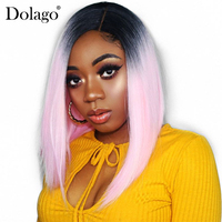 Прямой розовый парик Косплэй 150% плотность Синтетические волосы на кружеве натуральные волосы парики для Для женщин короткий боб парики 13x4