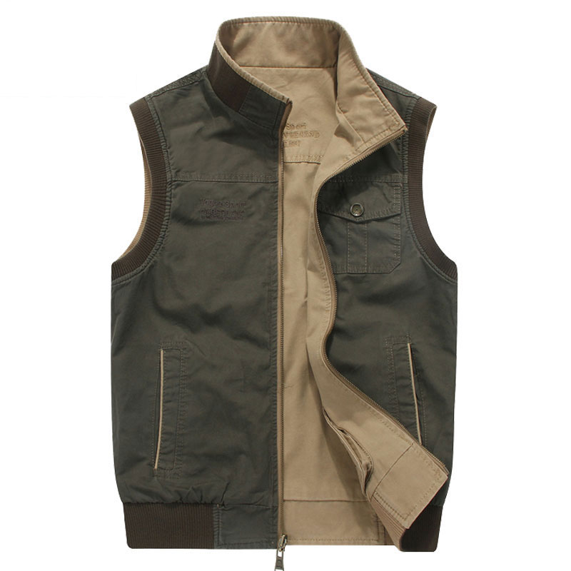M~8XL Plus Size 2017 Autumn New Fashion Men Reversible Vest Jackets Casual Khaki NEW Brand-Clothes CLOTHES Vests Outwear
