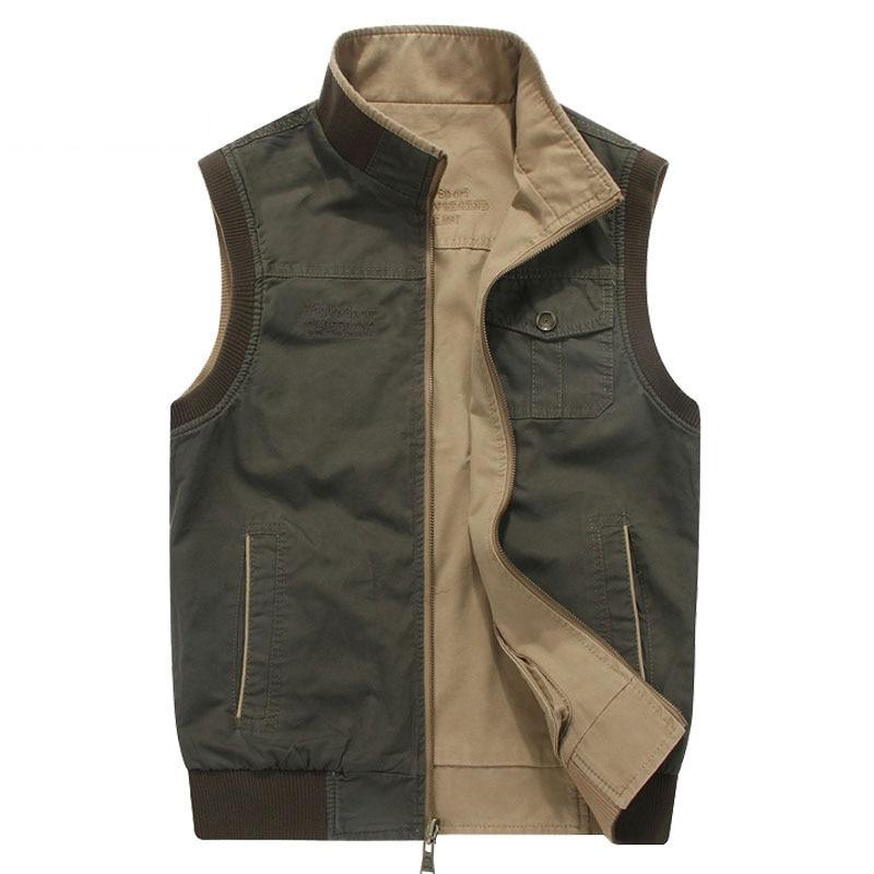 M~8XL Plus Size 2017 Autumn New Fashion Men Reversible Vest Jackets Casual Khaki NEW Brand-Clothes CLOTHES Vests Outwear