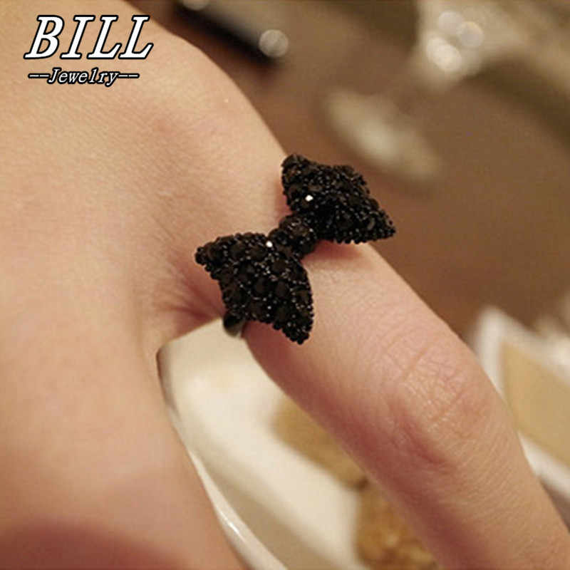 R067 Adjustable Finger Rings For Women Black Bowknot Fashion Jewelry Cute Anillos Anel Bijoux Butterfly Bow Cheap Ring Promotion