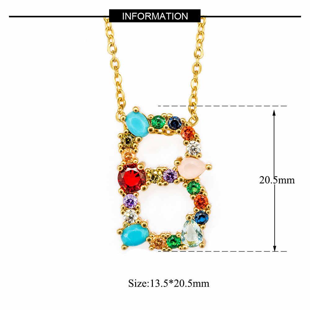 Vnistar CZ Initial Name Pendant Necklaces 100% Cubic Zirconia A-Z Alphabet Women's Necklace Letter Pendant Jewelry Necklace