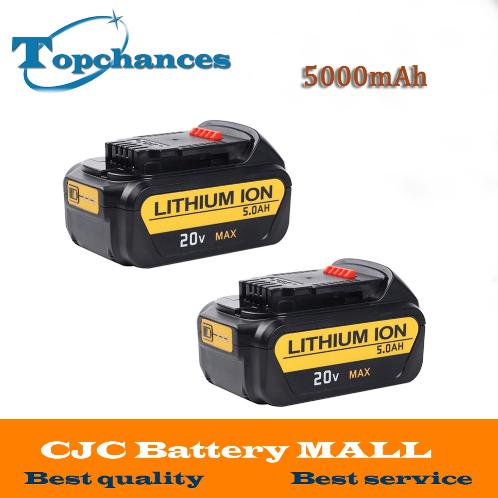 2PCS High Quality Battery For Dewalt 20V 5000mAh Power Tools Battery Replacement For Dewalt DCB181 DCB182 DCD780 DCD785 DCD795