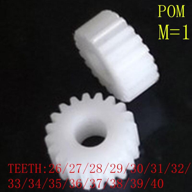 1 Pair 1M 26T 27T 27T 28T 29T 30T 31T 32T 33T 34T 35T 36T 37T 38T 39T 40T Nylon Pom Plastic Hole Convex Copper Motors Gear