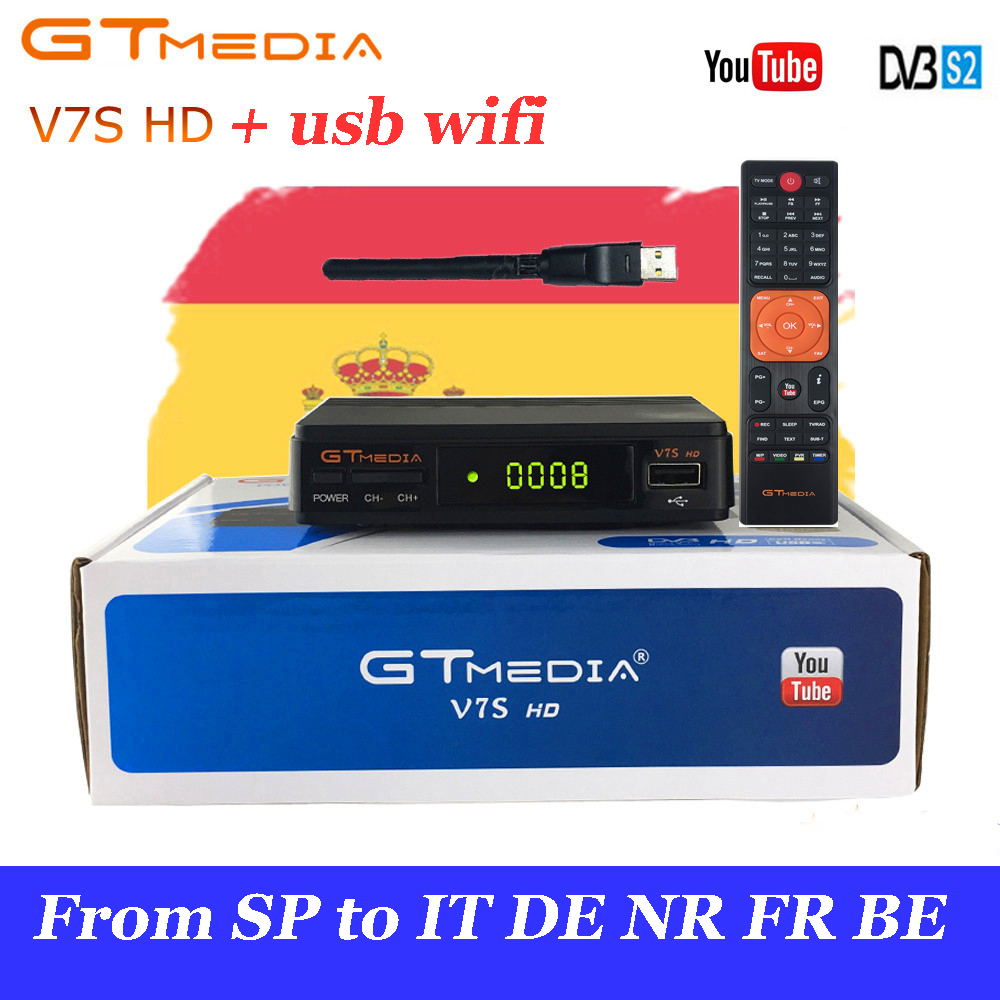 GTmedia V7S HD Power by Freesat v7 Satellite Receiver Free cccam DVB S S2 with USB