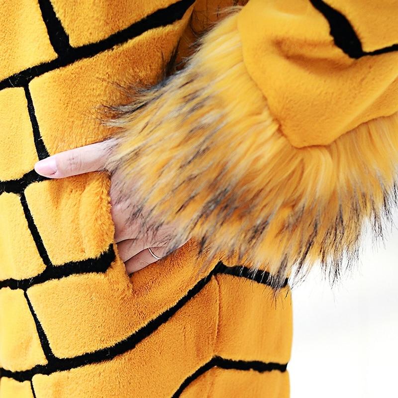 Nerazzurri Women extralanger Kunstpelzmantel mit gelben und schwarzen - Damenbekleidung - Foto 6