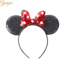 1pc orelhas de rato bandana clássica bolinhas lantejoulas arcos de cabelo hairband diy meninas acessórios de cabelo quente-venda festa mujer