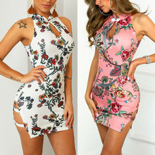 2019 Women Sexy Floral Hollow Out Bodycon Dress Casual Nightclub Sleeveless Stretch Club Bandage Short Mini Dresses