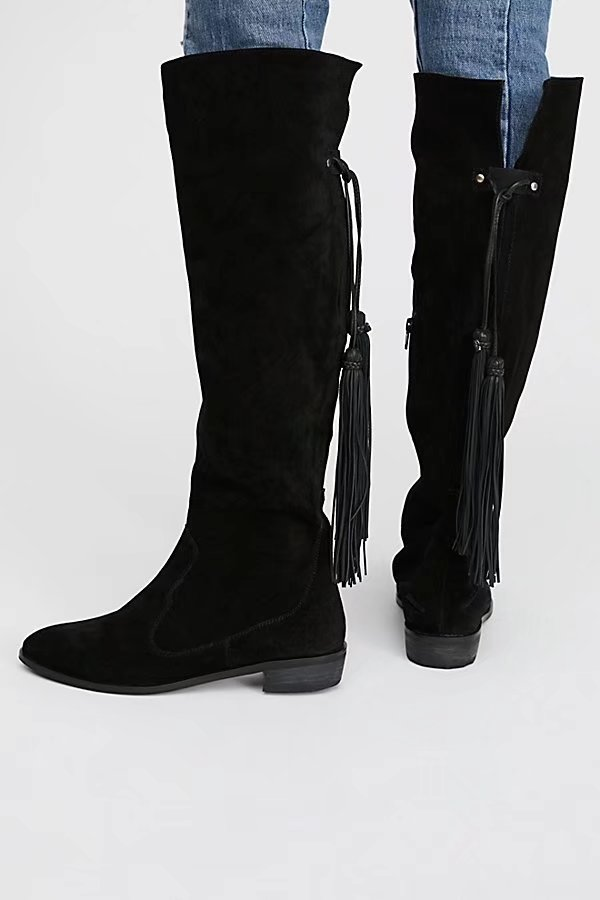 New Hot Women Brown Black Suede Stacked Heel Distressed Rounded Toe Elastic Band In Back Side Zip Knee High Tassel Flat Boots