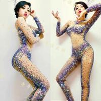 Fashion Design Sexy Perspective Rhineston Bodysuit Costume Party Show Female Singer Stage Nightclub Performance Wear Jumpsuit