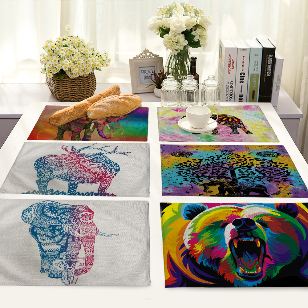 Elephant Pattern Table Mat Animal Table Napkin Placemat Kitchen Decoration Dining Accessories 42x32cm MA0093