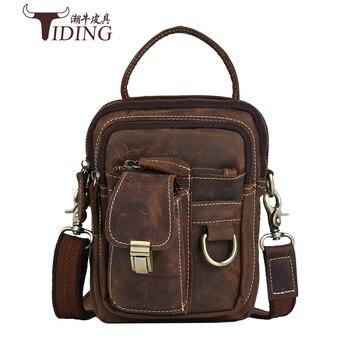Vintage Crazy Horse Genuine Leather Men Bags Men Messenger Bag Man Shoulder Crossbody Bags Leather Handbag Male Small Bag