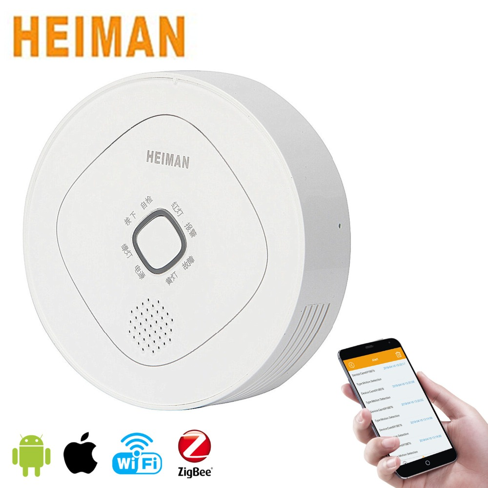 HEIMAN Home Smart Combustible Gas Detector,ZigBee Mini Natural Gas Detector Alarm for Smart Home Security System-HS3CG flammable gas detector wireless digital led display combustible gas detector smart network alarm for home alarm system