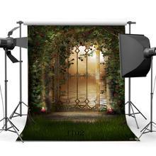 Photography Backdrops Fairy Tale Mysterious Garden Flowers Vine Arch Grass Field Scene