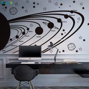 Виниловые настенные наклейки для солнечной системы, для детей, астрономия, питомник, звезды, планеты, Космический декор, самоклеящийся пост...