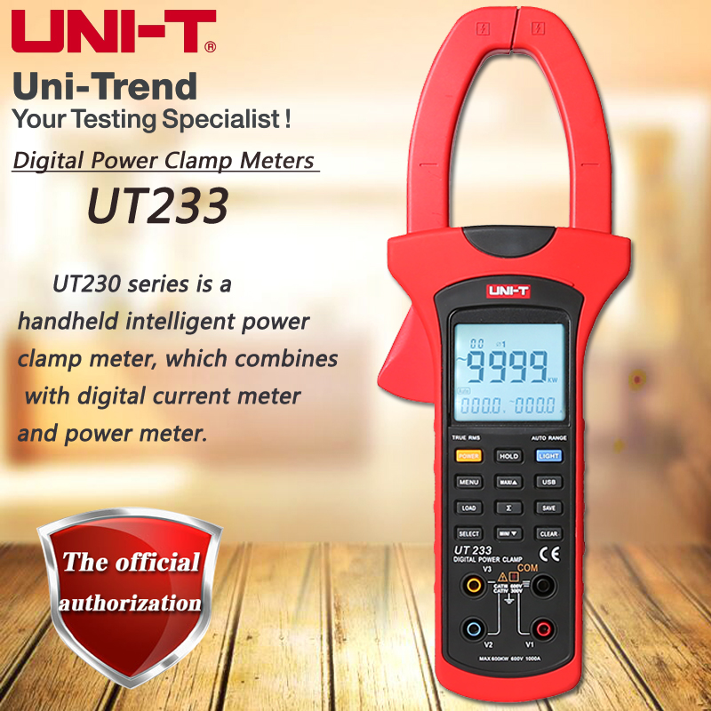 UNI-T UT233 three-phase digital clamp power meter, 1000A true RMS clamp meter phase sequence detection data storage USB transfer цена