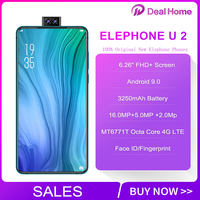 2019 Original Elephone U2 6.26 FHD+ Screen Face ID 6GB+128G Mobile Phone Android 9.0 MT6771T Octa Core 4G LTE Smartphone
