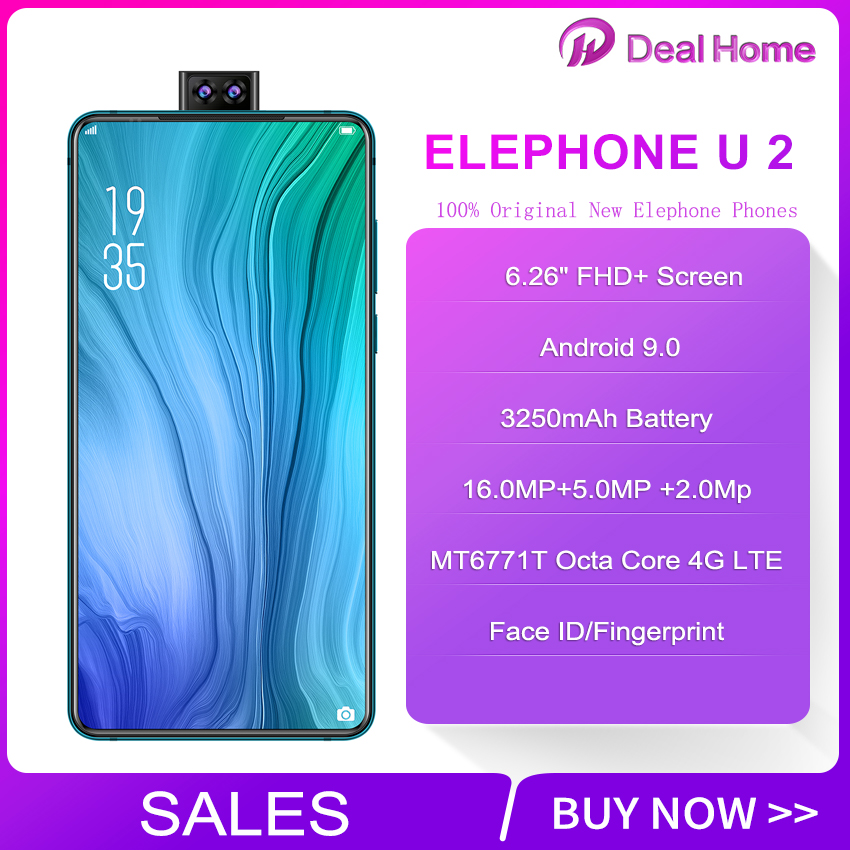 "2019 Original Elephone U2 6.26"" FHD+ Screen Face ID 6GB+128G Mobile Phone Android 9.0 MT6771T Octa Core 4G LTE Smartphone"