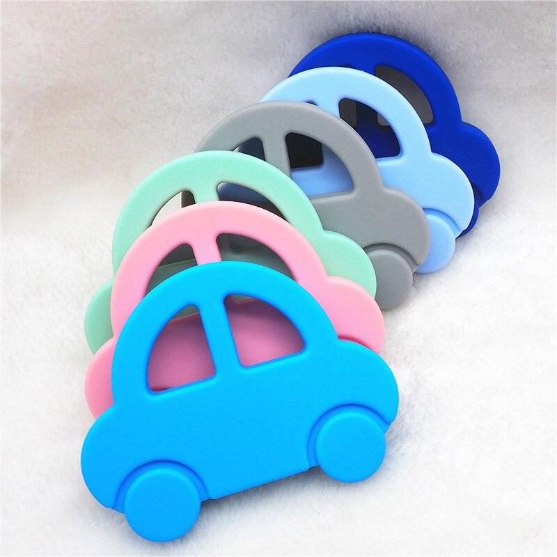 Купить с кэшбэком Chenkai 10PCS Silicone Car Teether DIY Baby Shower Chewing Pendant Nursing Sensory Jewelry Teething Pacifier Dummy Toy Gfit