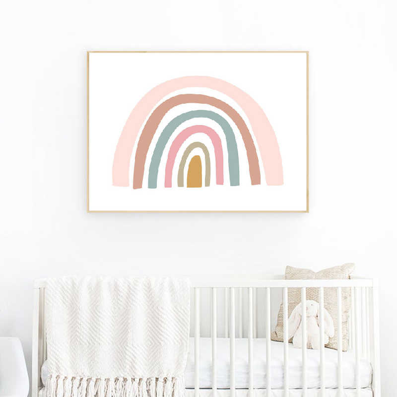 Rainbow Print Girls Bedroom Decor Pink and Yellow Nordic Poster Wall Art Canvas Painting Wall Picture Baby Nursery Decoration