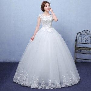 Image 5 - 2020 חדש Vintage חתונת שמלות גברת Win קצר שרוול כדור שמלת נסיכת חתונת שמלות Vestido דה Noiva Robe דה Mariee F