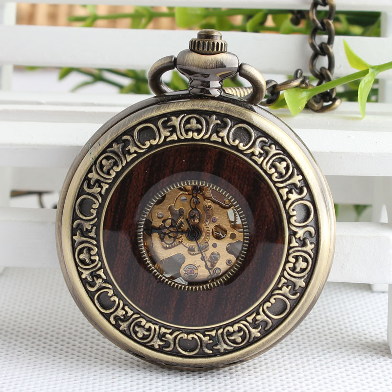2017 New Vintage Wood Grain Hollow Self winding F Mechanical Pocket Watch Steampunk Skeleton Back With Chain Men Women vintage cool black hollow case with roman number dial skeleton steampunk mechanical pocket watch with chain to men women