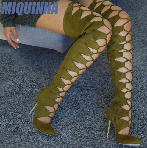MIQUINHA Sexy Cut Out Strappy Women Over The Knee Boots Round Toe Ladies High Heel Gladiator Boots Fashion Suede Leather Boots sexy kim kardashian stretch fabric gladiator over the knee boots cut out thick heel high heel long boots fashion open toe boots