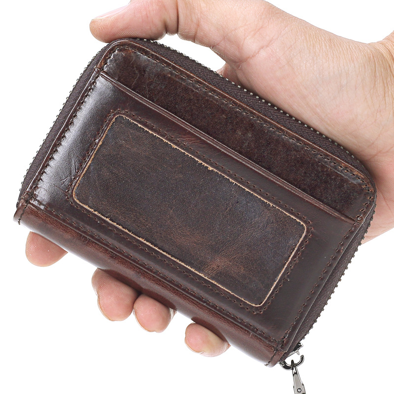 Genuine Leather Unisex Business Card Holder Wallet Bank Credit Card Case ID Holders Women Cardholder Porte Carte Coin Bag