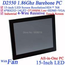 """Промышленного класса с сенсорным экраном встроенный 15 дюймов LED все в одном компьютере 6 * COM LPT Tablet PC 15 """"производства control1024 * 768"""