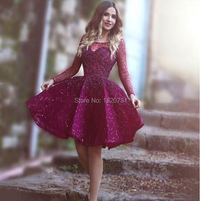 b917f6e92aa Luxury Short Engagement Party Dresses Shiny Sequins Beads Cocktail Dress  Graduation Dress Dark Plum Color Purple
