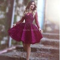 Luxury Short Engagement Party Dresses Shiny Sequins Beads Cocktail Dress Graduation Dress Dark Plum Color Purple Long Sleeves