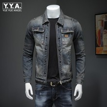 Новинка, мужское джинсовое пальто, Ретро стиль, ковбойские облегающие Топы с длинным рукавом, повседневная куртка на молнии размера плюс 4XL, брендовая Классическая джинсовая верхняя одежда для мужчин