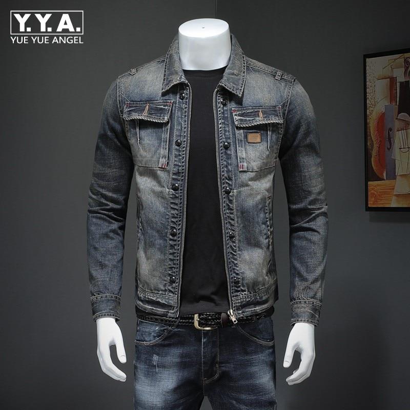 2020 New Men Denim Coat Vintage Cowboy Slim Tops Long Sleeve Casual Zipper Jacket Plus Size 4XL Brand Classic Jean Outwear Male