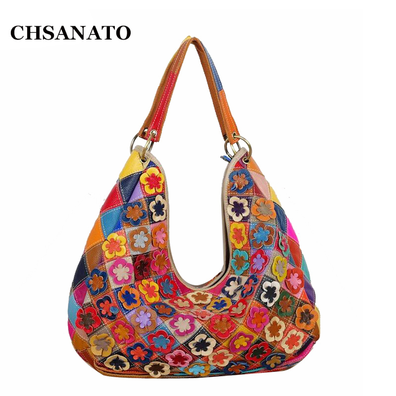 New Arrival Genuine Leather Women Bag Floral Pattern Shoulder Crossbody Fashion Flower Lady Messenger Bags Patchwork Handbags 2018 new fashion women handbags genuine leather bow patchwork cow leather bag lady shoulder crossbody messenger bags saddle