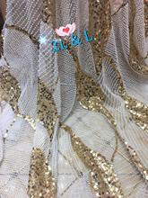 Tubo de trabajo pesado de alta calidad bordado de lentejuelas Nigeria tela de encaje malla francesa adecuado para vestido de mujer falda de boda