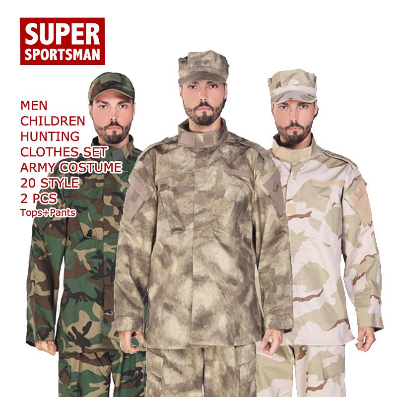 036d453ce9f8d 2019 Men Army Tactical Uniform Children Hunting Camo Camouflage CS ...