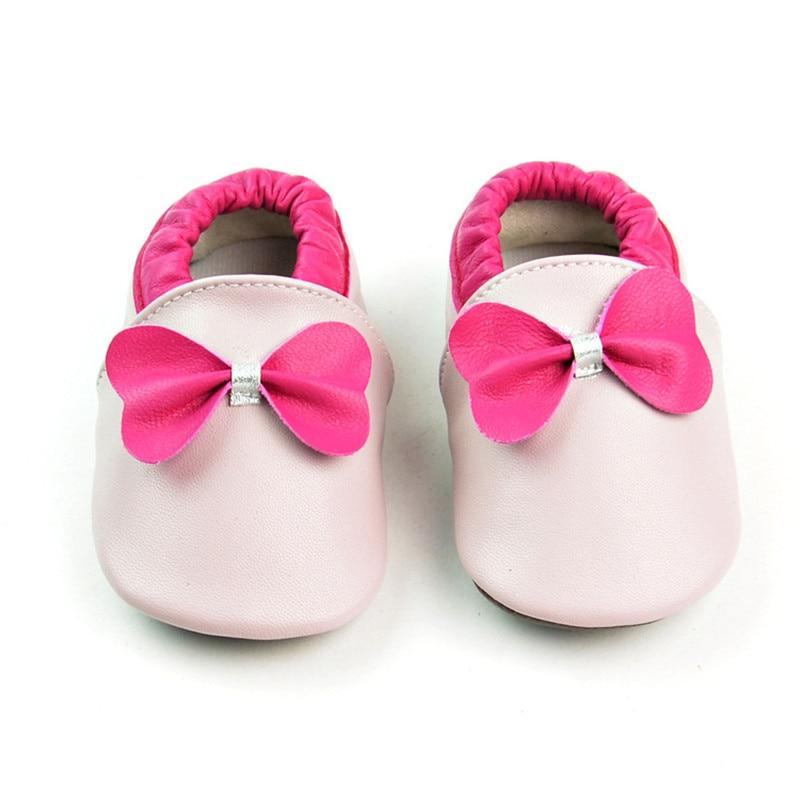 Busur Kulit Asli Bayi Moccasins non-slip bawah Sepatu Bayi Pertama Pejalan Kaki Bebe sepatu yang baru lahir lembut