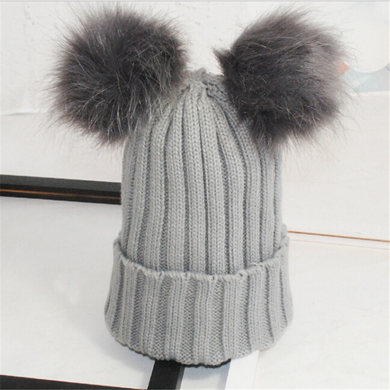 Warm Baby Knit Beanie Hat Kid Bobble Hat With Two Fur Ball Great Gift For Christmas Newyear Winter Autumn Hats For Children Hot
