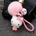 Corda de couro pequeno sino pele de coelho pompom fofo hello kitty sacos acessórios chaveiros chaveiro carro charme para as mulheres constituem