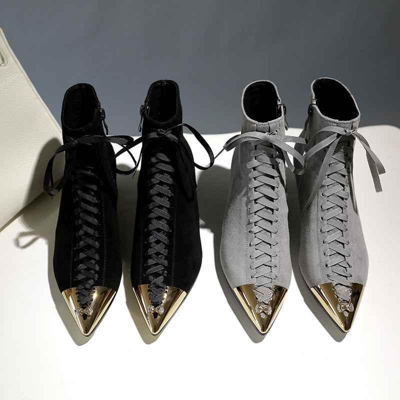 Krazing Pot 2019 yeni sıcak satış çocuk süet sivri burun metal ayak karışık renk kelebek-düğüm med topuklar Avrupa tasarımcı yarım çizmeler L25