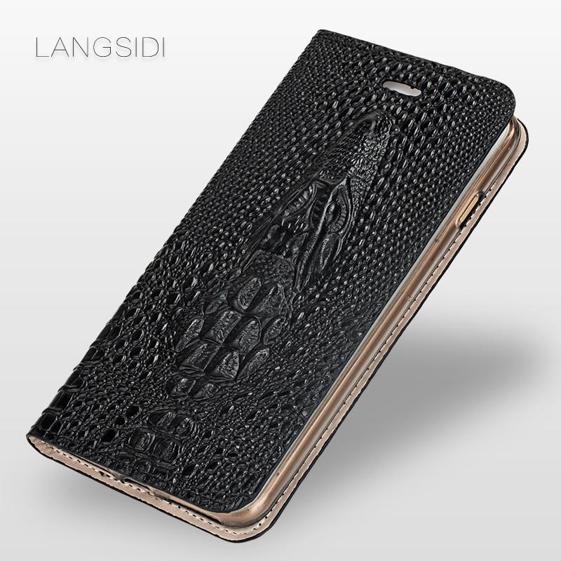2018 New brand phone case crocodile head clamshell leather phone case for VIVO X9 phone shell all handmade custom processing