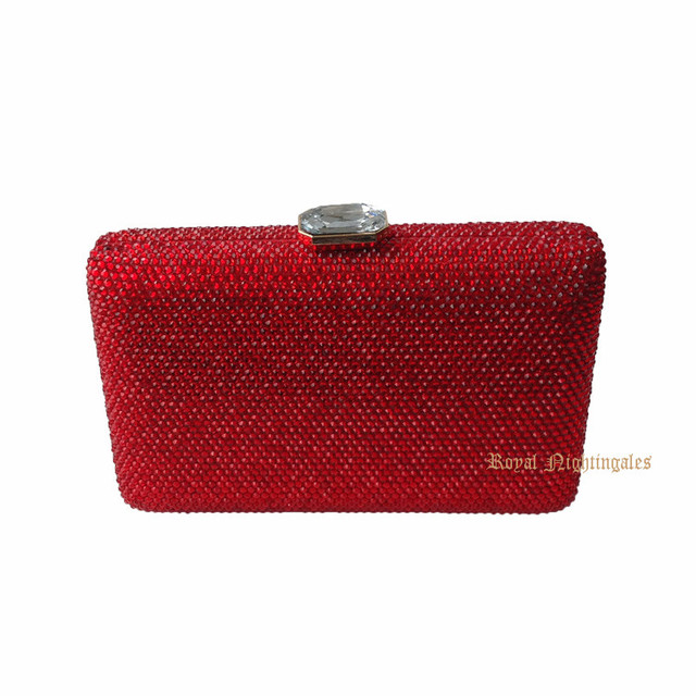 Handmade Red New Womens Hard Case Crystal Box Clutch Evening Bag with Diamond Evening Clutch Purses and Evening Handbags