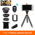 2017 Fisheye Wide Angle Macro Lens For iPhone 6 6s 7 Plus Xiaomi Huawei HTC Camera Cell Phone Lenses Clips Tripod Remote Control