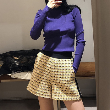 2019 Spring and Summer New Sweet Color Matching High Waist Casual Women Short Pants