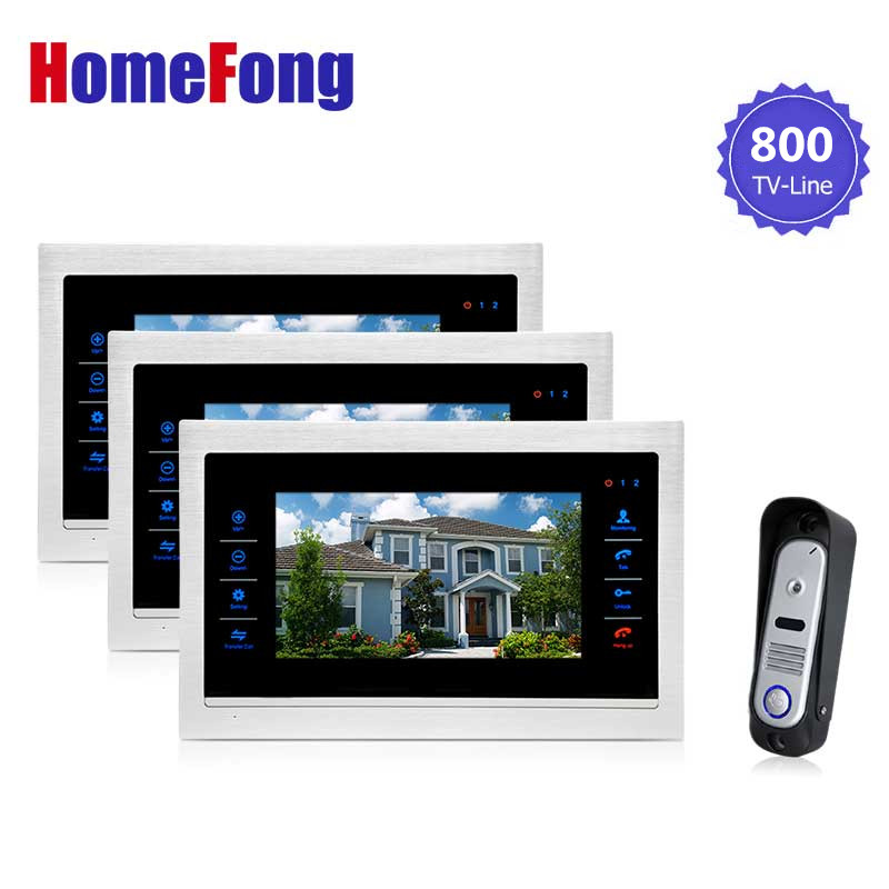 Homefong 7 Inch TFT Color Video Door Phone Intercom Doorbell Camera System Metal Metal Monitor 800TVl Outdoor Station homefong villa wired night visual color video door phone doorbell intercom system 4 inch tft lcd monitor 800tvl camera handfree